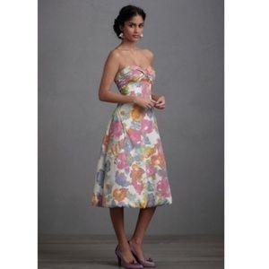 Anthropologie In Full Bloom Silk Strapless Dress